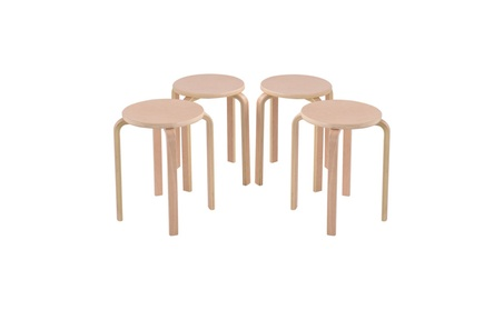 Set of 4 17-inch Bentwood Stools Stacking Home Room Furniture Decor 0e7d0195-e569-4401-a751-5b5d8848040c