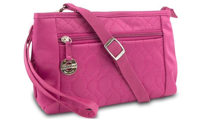 Travelon Convertible Quilted Crossbody Handbag Purse with LED Light