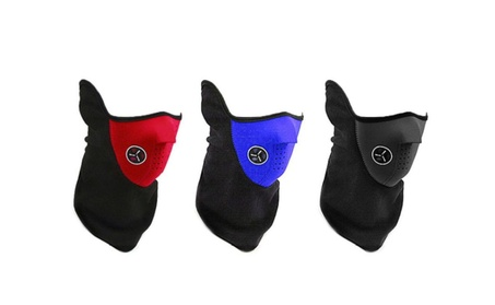 Neoprene Thermal Fleece Face Mask Winter Sports, Cycling (Pack of 3) - red/black/blue