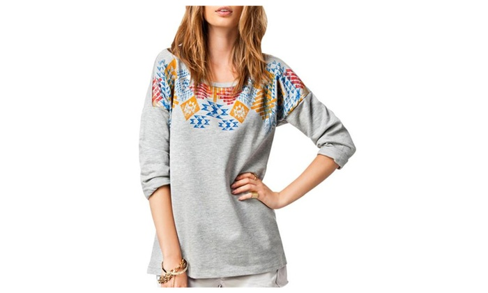 Fecland Women's Casual Loose Fit Printed Crew Neck Pullover Sweatshirt