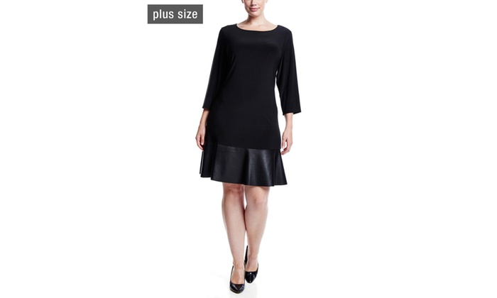 7ab9804f90b83 TIANA B. Solid Jersey Swing Dress with Faux Leather Bottom | Groupon