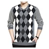 Men's V Neck Jacquard Long Sleeve Ribbed Cashmere Sweater