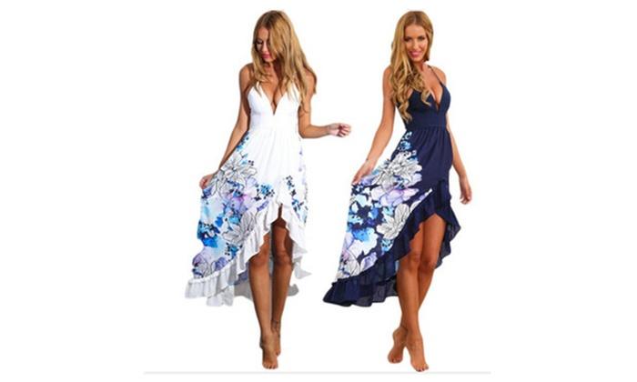 300a36f6cea6 Kimloog Summer Women Halter Boho Long Dresses Party Beach Sundress | Groupon