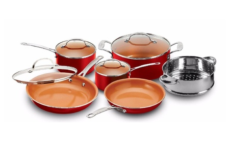 Gotham Steel 10-Piece Nonstick Copper Frying Pan & Cookware Set RED 39364eae-8253-46fc-9632-ce7a25cb33c9