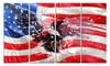 American Eagle and Flag Glossy Metal Wall Art