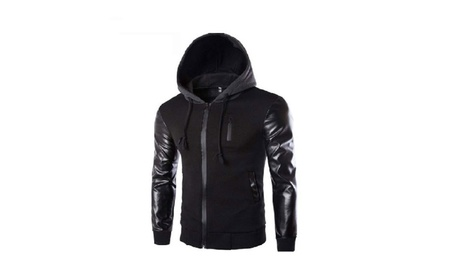 Spring Fashion Pu Leather Sleeve Splice Bomber Jacket - Small d220dceb-5ae4-4795-a1ff-1314e2015972