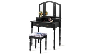 Costway Tri Folding Mirror Vanity Makeup Table Stool Set White & Black
