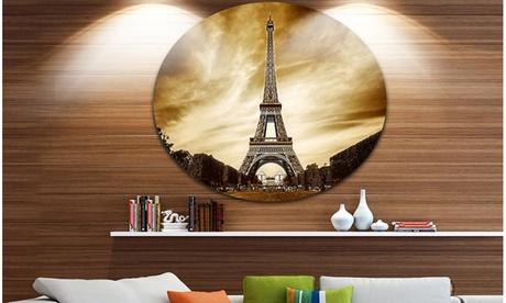 Paris Eiffel Towerin Grey Shade' Disc Landscape Photography Circle Metal bb9f0261-8ab0-4156-a7ce-d41e0f6a05c7