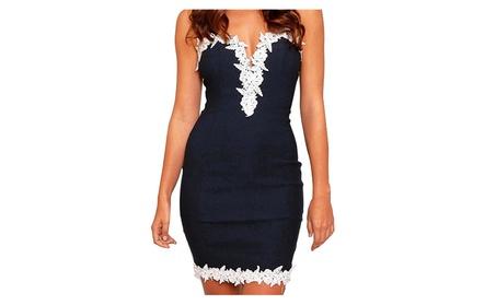 Women Sexy Strapy Deep V-neck Skirt Lace Floral Bandage Slim Dress 0d378631-dbab-4422-99d3-a8d016a7b183