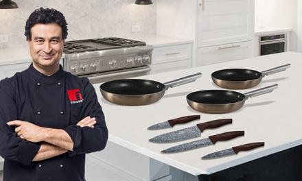 Set 3 sartenes aluminio prensado y 4 cuchillos Pixel Pro Copper de San Ignacio