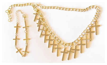 Elegant Gold 14 Cross Necklace with Matching Sideways Cross Bracelet dee33169-a84c-4e37-b822-757c16dacc3c