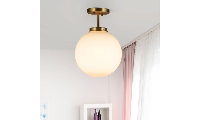 Globe Ceiling Lamp Modern Semi Flush Mount Light W/ Acrylic Lamp Shade Bedroom | Groupon