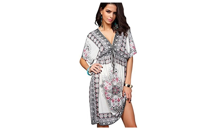 Women's Bohemia Sexy Summer Hot Deep V-neck Loose Beachwear Cover up - White / X-Large