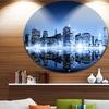 Night New York City Mirrored' Cityscape Metal Circle Wall Art