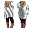 Women's Black and White Stripes Long Sleeve T-shirt Tops