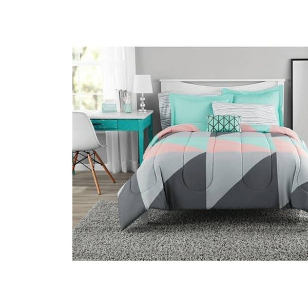 BedSpread Mainstays Blue,Grey,Pink Plaid Bed in a Bag Bedding Set Free Shipping