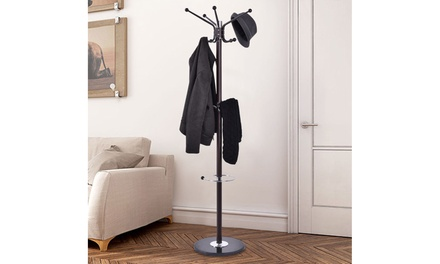 Costway 67'' Metal Coat Hat Jacket Stand Tree Umbrella Holder Hanger