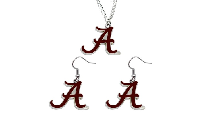 Bracelet and Earings Gift Bundle NCAA Oklahoma Sooners Logo Stainless Steel Necklace