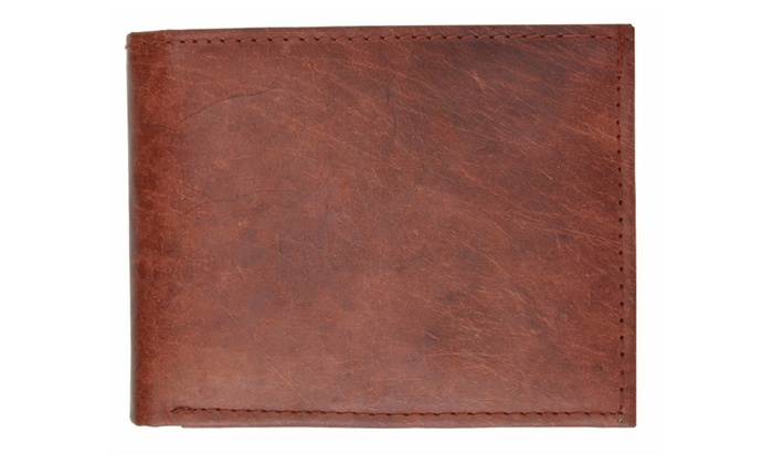 Mens Genuine Leather Center Flap ID Card Holder Bifold Wallet