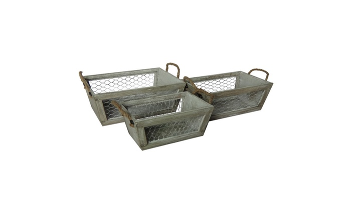 Clickhere2shop: Cheungs 3 Wooden Tapered Crates with Wire Sides and Rope Handle