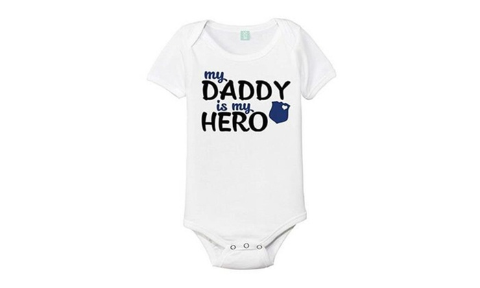 52970b9d0 My Daddy Is My Hero Police One-Piece Baby Onesie Bodysuit | Groupon