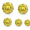 1 - 13 CTTW Yellow Round Cubic Zirconia Stud Earrings in Sterling Silver
