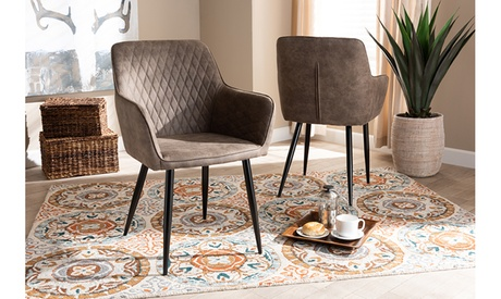Belen and Imitation Leather Upholstered 2-Piece Metal Dining Chair Set