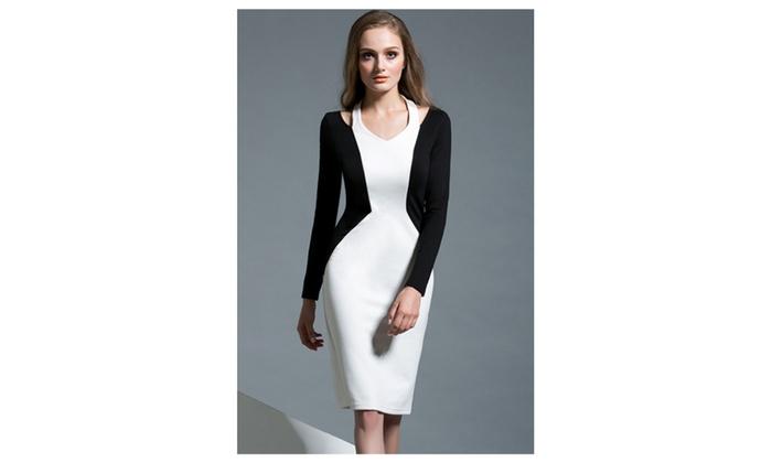 Women Pencil Skirt Black and White V-neck Dress - ZWWD269
