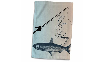 Towel - Gone Fishing Fish with Pole- Beach Theme Art - 15 by 22-inches
