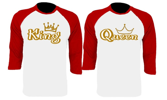 Gold King And Queen Baseball Shirts Couple Matching Raglan T-Shirts