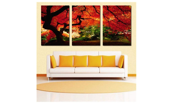 Frameless Huge Wall Art Oil Painting On Canvas Maple Tree Home Decor ...