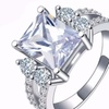 Princess Cut White Gold Plated CZ Crystal Wedding Engagement Ring