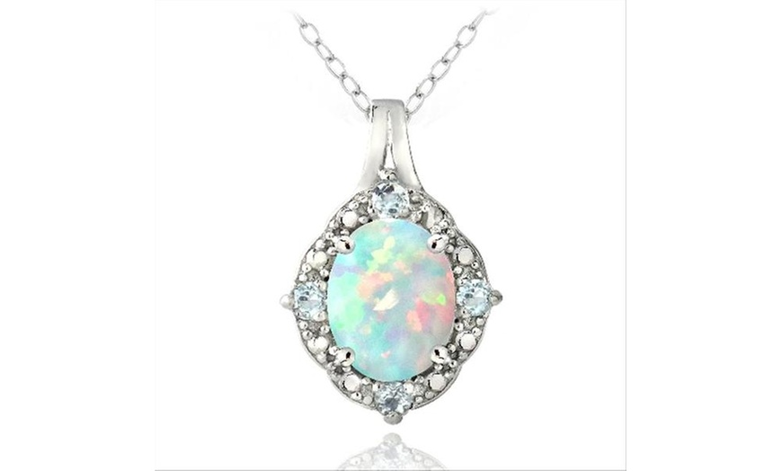 Opal and Blue Topaz Gemstone Gold Plated Locket Pendant