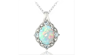 Sterling Silver Diamond Accent White Opal & Blue Topaz Oval Necklace