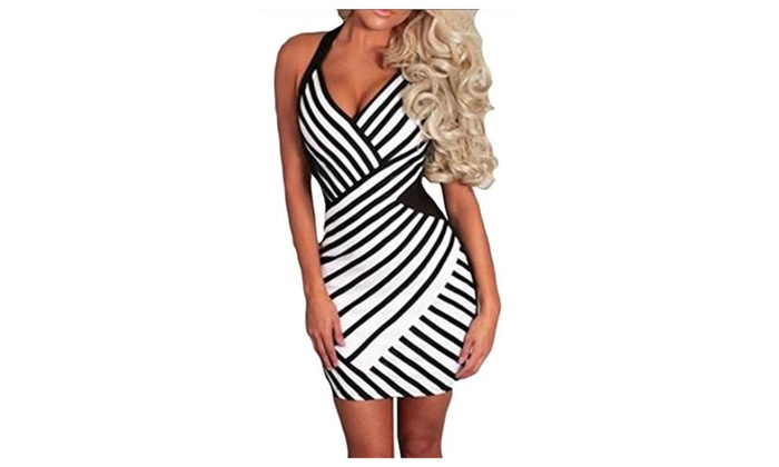 CXX Women's Strappy Sexy Low Cut Stripe Party Clubwear Dress