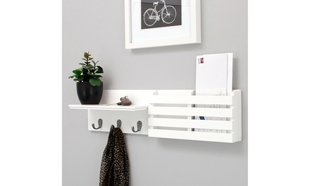 Kitchen Office Chrome Wall Shelf and Mail Organizer Holder With 3 Hooks White Was: $34.90 Now: $19.99.