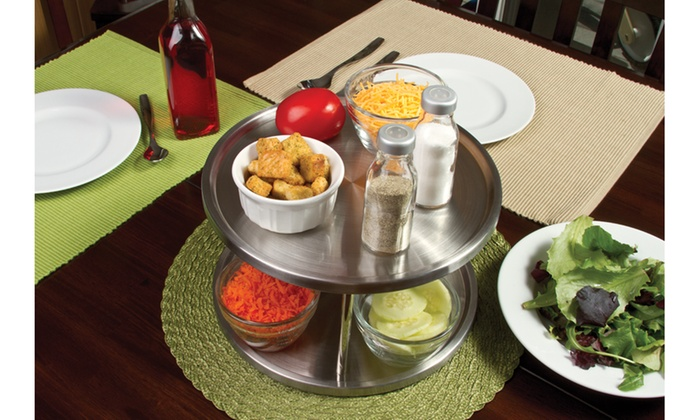 2 Tier Stainless Steel Lazy Susan Turntable