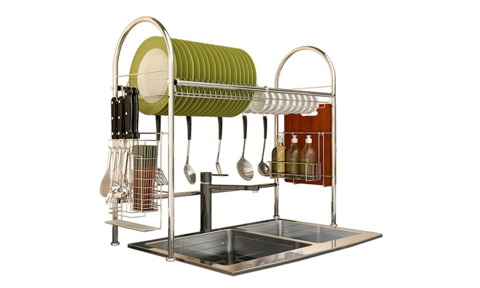 Up To 56 Off On Over Sink Dish Drying Rack 2 Groupon Goods