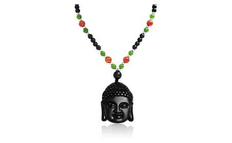 Bling Jewelry Obsidian Buddha Head Agate Synthetic Jade Necklace Alloy 1127d196-d329-4f87-92da-ebe2475aa00e