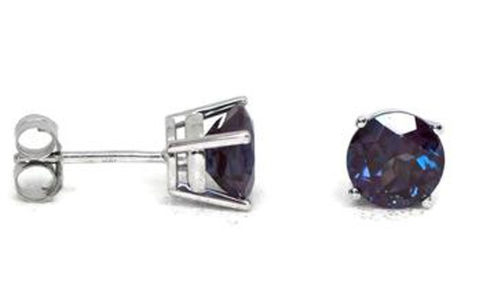 14k White Gold 4 Mm Round Natural Alexandrite Stud Earrings