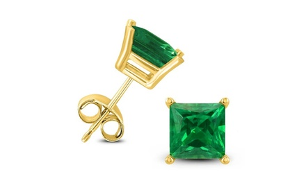 24k yellow Gold 1 Cttw Princess Emerald Stud Earrings Was: $199 Now: $22.99.
