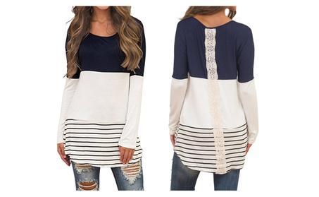 Women's Color Block Lace Back Long Sleeve T-Shirt Tunic Tops e39b003b-24a3-4539-8c93-4a29896f637c