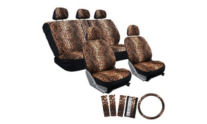 Velour Leopard Full Car Seat Cover Set