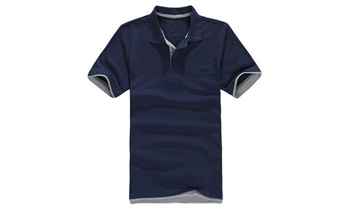 Easy Men's Comfortable Splice Colors Short Sleeve POLO T-Shirt