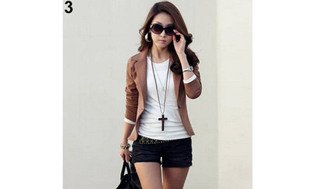 Women Korean Style Casual Slim Short Blazer Suit Jacket Coat Outwear Blouse Top