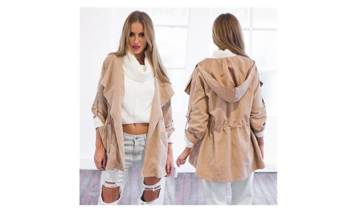 Women Winter Outwear Hooded Long Trench Coat