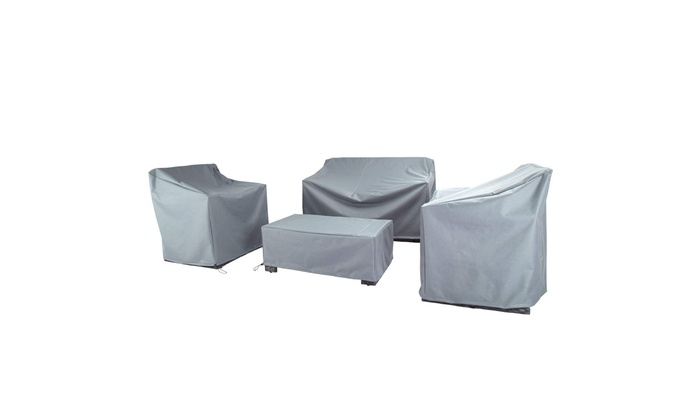 Awe Inspiring N87 4 Piece Outdoor Veranda Patio Garden Furniture Cover Durable Fabric Grey Machost Co Dining Chair Design Ideas Machostcouk