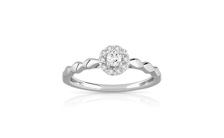Solid 10K White Gold 1/5Ct Round Cut Real Diamond Halo Engagement Ring