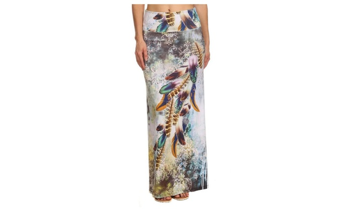 Multi Color Abstract Feather Boho Chic Womens Maxi Skirt