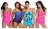 Hellochic: Womens Stripes Lined Up Double Up Tankini Top Swimwear Bathing Suit